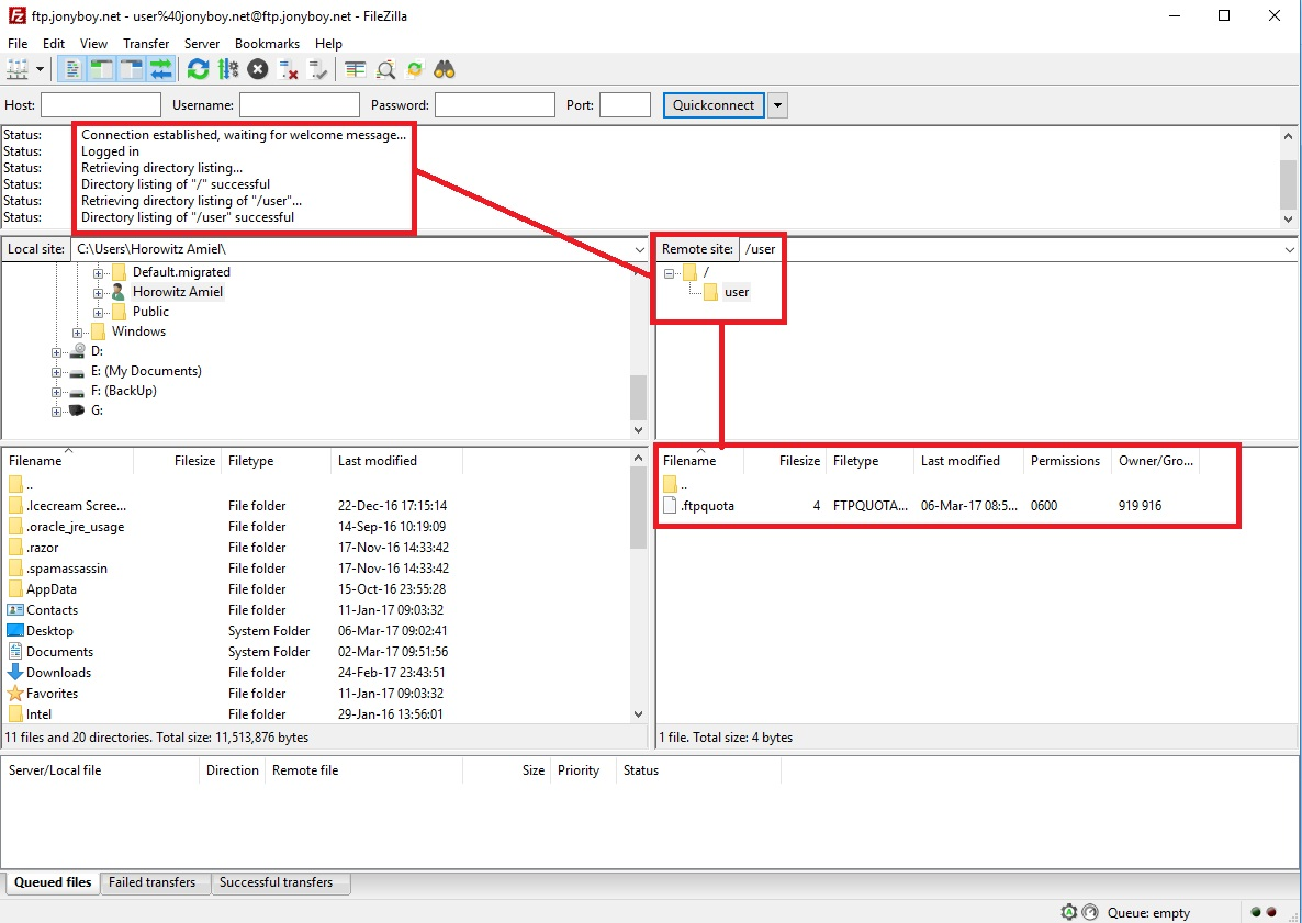 FTP Connection to the Server With Filezilla
